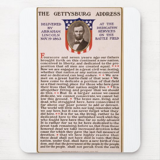 The Gettysburg Address by Abraham Lincoln 1863 Mouse Pad