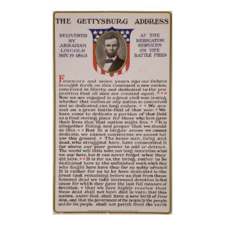 The Gettysburg Address by Abraham Lincoln 1863 Poster