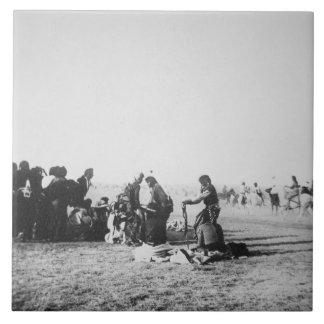 The Ghost Dance, South Dakota, 1890 (b/w photo) Tile
