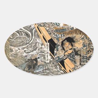 The ghost of Taira Tomomori by Utagawa Kuniyoshi Oval Sticker