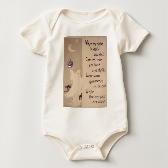 The Ghost & The Pumpkin (Vintage Halloween Card) Baby Bodysuit