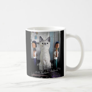 The giant cat and the long neck women coffee mug