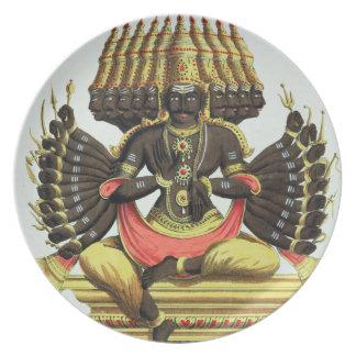 The Giant Ravana (colour litho) Dinner Plate