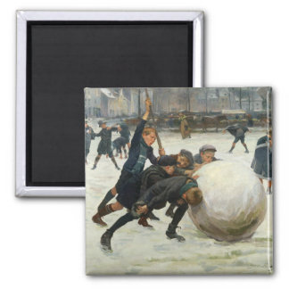 The Giantest Snowball, 1903 2 Inch Square Magnet