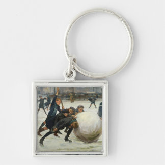 The Giantest Snowball, 1903 Silver-Colored Square Keychain