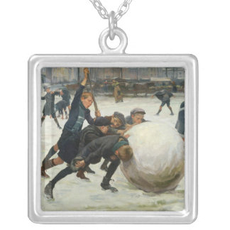 The Giantest Snowball, 1903 Square Pendant Necklace