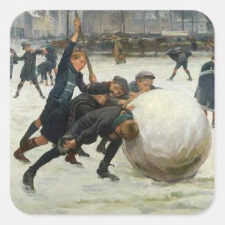 The Giantest Snowball, 1903 Square Sticker