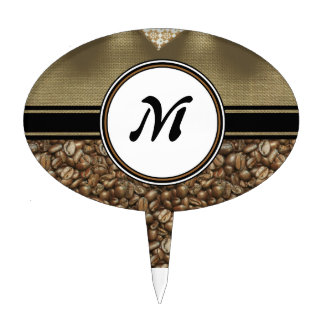 The Gift of Delicious Coffee Monogram Cake Topper