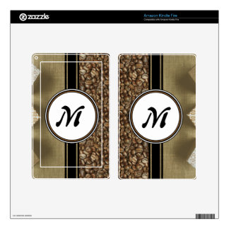 The Gift of Delicious Coffee Monogram Skin For Kindle Fire