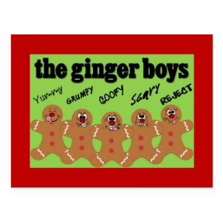 """The Ginger Boys"" Gingerbread Man Boy Band Postcard"