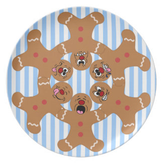 """""""The Ginger Boys"""" Gingerbread Skydiving Formation Dinner Plate"""