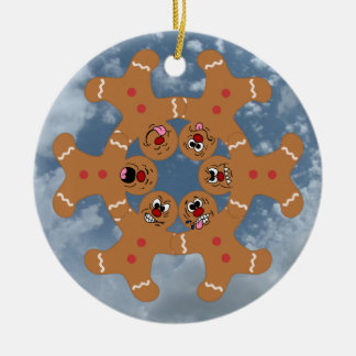 """""""The Ginger Boys"""" Gingerbread Skydiving Formation Double-Sided Ceramic Round Christmas Ornament"""
