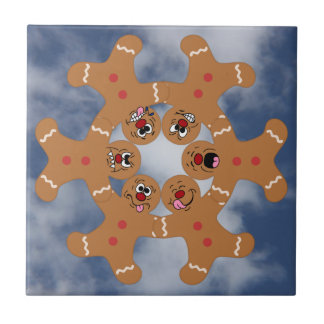 """The Ginger Boys"" Gingerbread Skydiving Formation Small Square Tile"