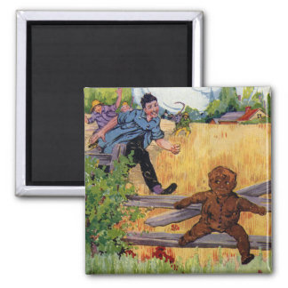 The Gingerbread Boy Escapes 2 Inch Square Magnet