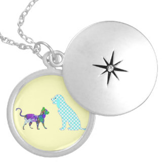 The gingham dog and calico cat pendant