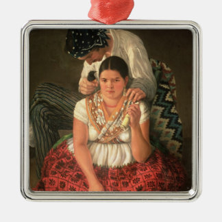 The Gipsy Boy and Girl, (oil on canvas) Metal Ornament