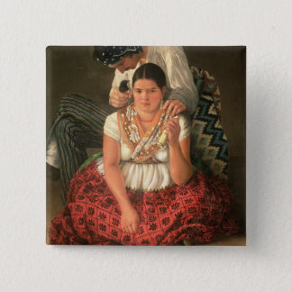 The Gipsy Boy and Girl, (oil on canvas) Pinback Button