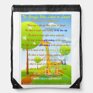 The Giraffe Who Liked To Laugh C Copyright 2009 Drawstring Bag