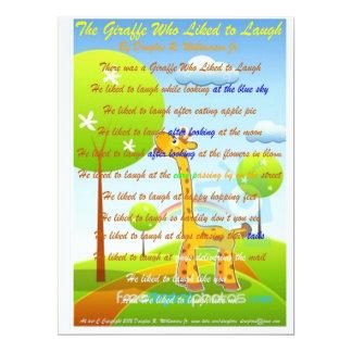 "The Giraffe who Liked To Laugh Invitations 6.5"" X 8.75"" Invitation Card"