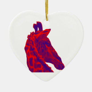 THE GIRAFFES STATURE Double-Sided HEART CERAMIC CHRISTMAS ORNAMENT