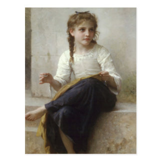The girl 2 who does knitting postcard