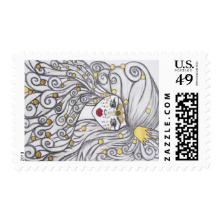 The girl and the golden beads. postage stamp