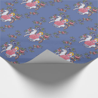 The girl and the unicorn wrapping paper