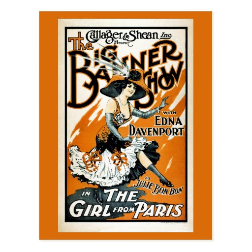 The Girl from Paris, vintage musical poster Postcards