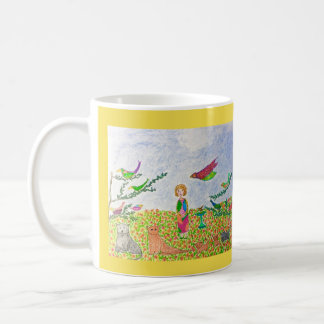 The Girl in her Garden with her cats Coffee Mug