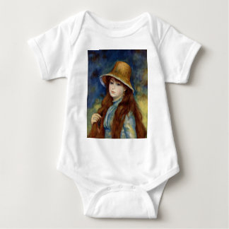 The girl of the farmer who wears the wheat straw h shirt