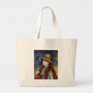 The girl of the farmer who wears the wheat straw large tote bag