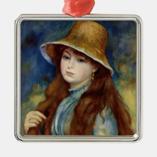 The girl of the farmer who wears the wheat straw metal ornament