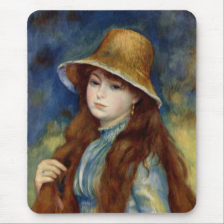 The girl of the farmer who wears the wheat straw mouse pad