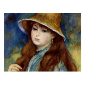 The girl of the farmer who wears the wheat straw postcard