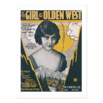 The Girl of the Olden West Vintage Songbook Cover Postcard