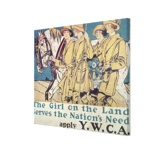 The Girl on the Land Serves the Nation's Need Canvas Print