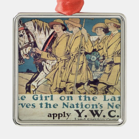 The Girl on the Land Serves the Nation's Need Metal Ornament