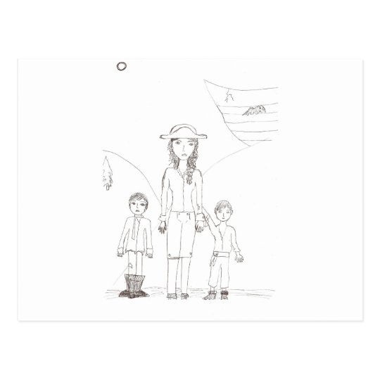 The Girl Pirate and her child crew Postcard