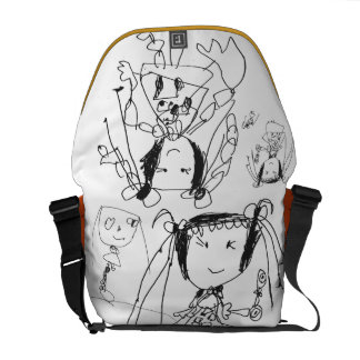 The girl the child draws messenger bag