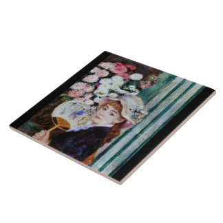 The girl who has Renoir and the round fan Ceramic Tile