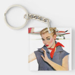 The Girl Who Stole Airplanes Double-Sided Square Acrylic Keychain