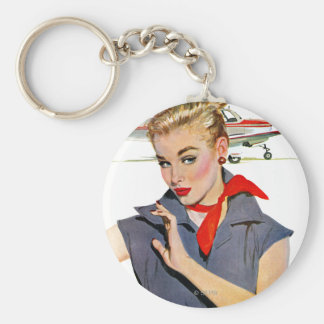 The Girl Who Stole Airplanes Basic Round Button Keychain