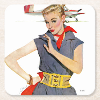 The Girl Who Stole Airplanes Square Paper Coaster