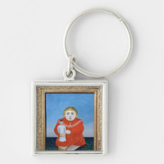 The girl with a doll, c.1892 or c.1904-05 Silver-Colored square keychain