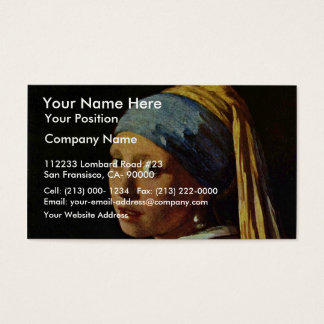 The Girl With A Pearl Earring.,  By Johannes Verme Business Card