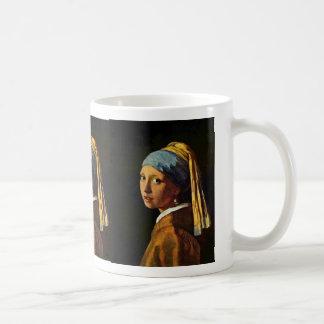 The Girl With A Pearl Earring.,  By Johannes Verme Coffee Mug
