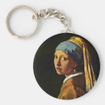 The Girl With A Pearl Earring.,  By Johannes Verme Key Chains