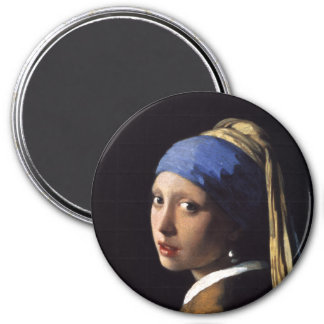 The Girl With A Pearl Earring by Johannes Vermeer 3 Inch Round Magnet