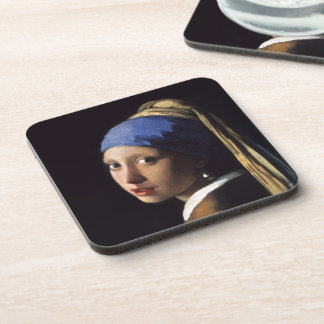 The Girl With A Pearl Earring by Johannes Vermeer Beverage Coaster
