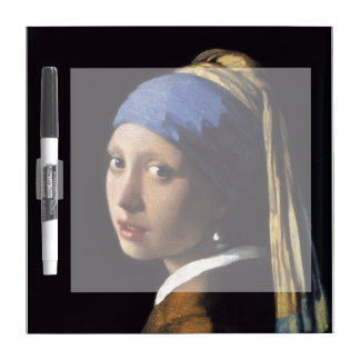 The Girl With A Pearl Earring by Johannes Vermeer Dry Erase Board